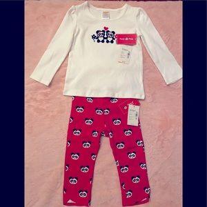 Baby girls 👧 Gymboree panda 🐼 matching set. NWT